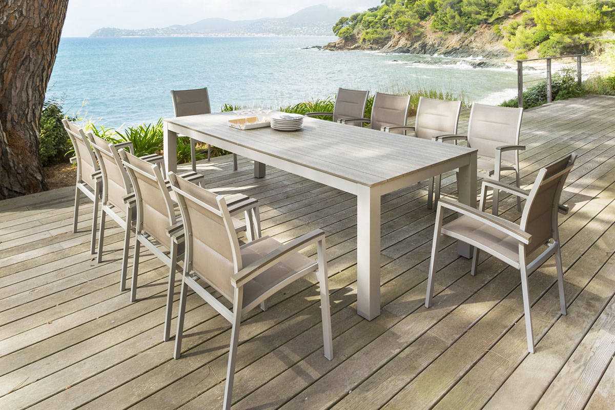 Table basse de jardin miami taupe - Table de jardin aluminium jardiland ...